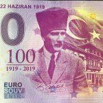 0 euro souvenir AMASYA – 22 HAZIRAN 1919 2019-1 zero euro bankovka turecko