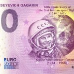 0 euro souvenir YURI ALEKSEYEVICH GAGARIN 2021-1 zero euro banknote russia