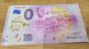 0 euro souvenir croatia dubrovnik 2019-1 zlatotlac golden print