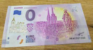 0 euro souvenir croatia zagreb 2019-1 zlatotlac golden print