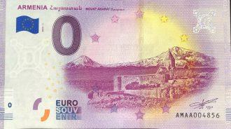 Arménia 2019-1 0 euro souvenir banknote mount ararat