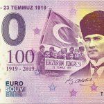 ERZURUM TEMMUZ 2019-1 0 euro souvenir banknote turkey
