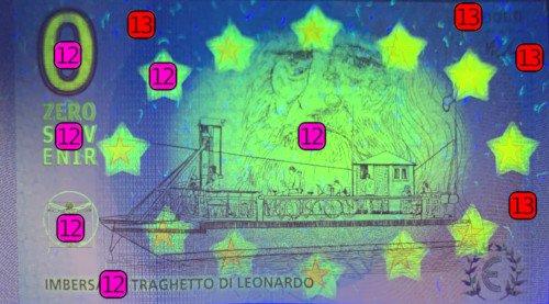 zerosouvenir bankovka predna strana uv ochranne prvky
